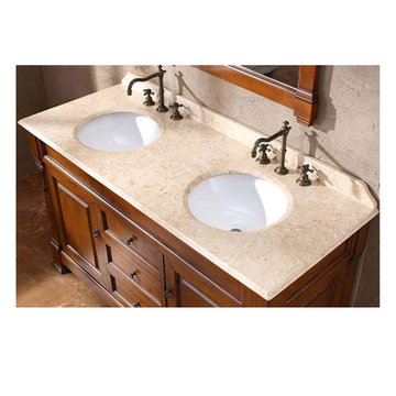 James Martin Brookfield 60 Inch Travertine Double Countertop Only With Sinks