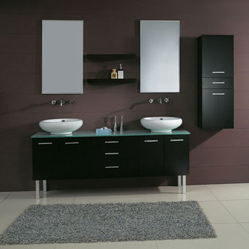 James Martin Contempo 72 Inch Espresso Double Sink Vanity With Legs
