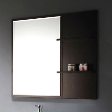 James Martin Contempo Espresso Single Mirror With Shelves