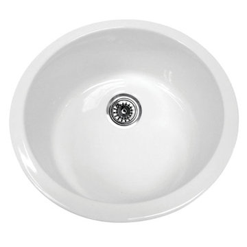 18 Inch Round Drop In Or Undermount Fireclay Kitchen Sink