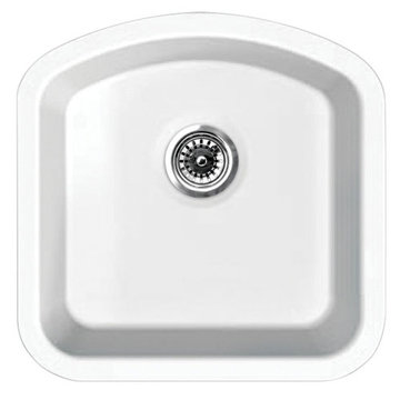18 Inch Single D-Bowl Undermount Fireclay Kitchen Sink