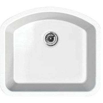 23 1/4 Inch Single D-Bowl Undermount Fireclay Kitchen Sink