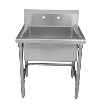 24 Inch Brushed Stainless Steel Square Freestanding Laundry Or Utility Sink
