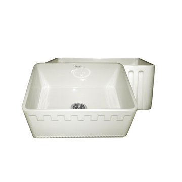 24 Inch Reversible Fluted Or Dentil Fireclay Kitchen Sink