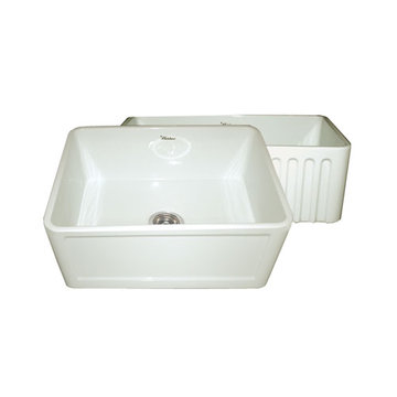 24 Inch Reversible Fluted Or Inset Panel Fireclay Kitchen Sink