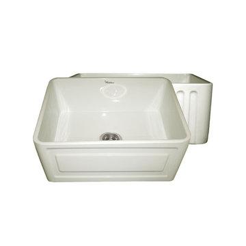 24 Inch Reversible Fluted Or Raised Panel Fireclay Kitchen Sink