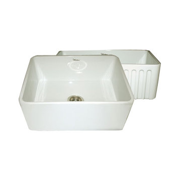24 Inch Reversible Plain Or Fluted Fireclay Kitchen Sink