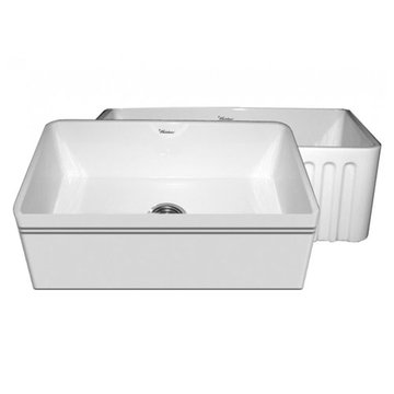 30 Inch Alcove Reversible Fluted Or Plain With Lip Fireclay Kitchen Sink