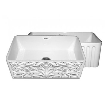 30 Inch Reversible Acanthus Or Fluted Fireclay Kitchen Sink