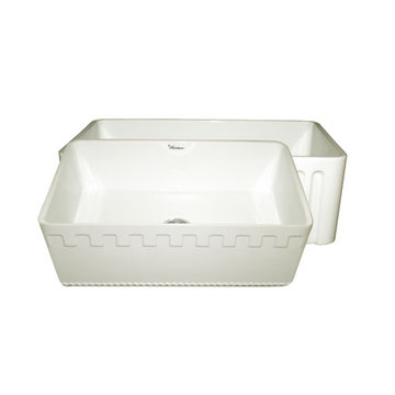 30 Inch Reversible Fluted Or Dentil Fireclay Kitchen Sink