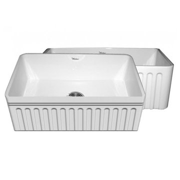 30 Inch Reversible Fluted Or Fluted With Lip Fireclay Kitchen Sink