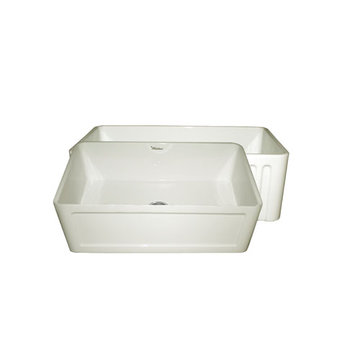 30 Inch Reversible Fluted Or Inset Panel Fireclay Kitchen Sink
