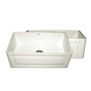 30 Inch Reversible Fluted Or Raised Panel Fireclay Kitchen Sink