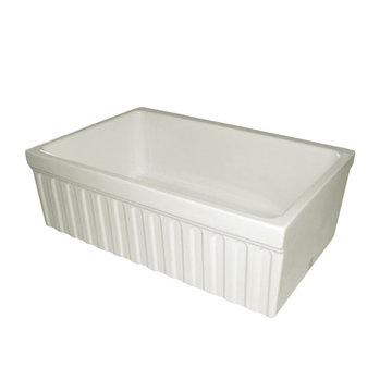 30 Inch Reversible Fluted With Lip Or Plain With Lip Fireclay Kitchen Sink