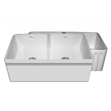 33 Inch Alcove Reversible Fluted Or Plain With Lip Fireclay Kitchen Sink