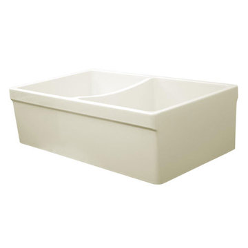 33 Inch Reversible 2 Inch Or 2 1/2 Inch Plain Double Bowl Fireclay Kitchen Sink