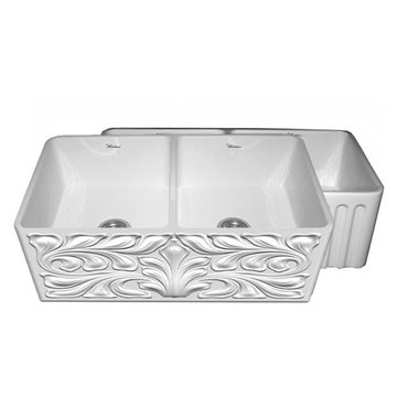 33 Inch Reversible Acanthus or Fluted Fireclay Kitchen Sink