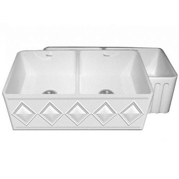 33 Inch Reversible Double Bowl Diamond Or Fluted Fireclay Kitchen Sink