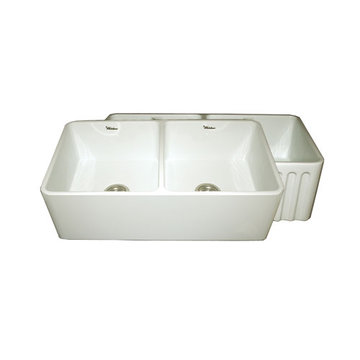 33 Inch Reversible Double Bowl Plain Or Fluted Fireclay Kitchen Sink