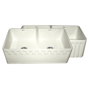 33 Inch Reversible Fluted Or Dentil Fireclay Kitchen Sink