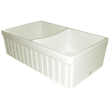 33 Inch Reversible Fluted With 2 Inch Lip Or Plain With 2 1/2 Inch Lip Double Bowl Fireclay Kitchen Sink