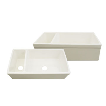 36 Inch Reversible Double Offset Bowl Fireclay Kitchen Sink
