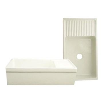 36 Inch Reversible Fireclay Kitchen Sink With Integrated Drainboard And 2 1/2 Inch Lip