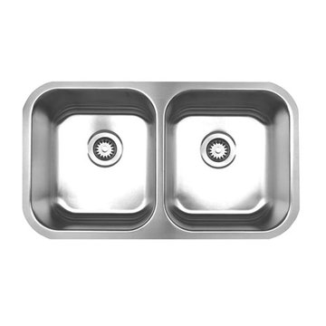 Brushed Stainless Steel Double Bowl Undermount Kitchen Sink
