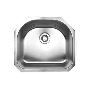 Brushed Stainless Steel Single D-Bowl Undermount Kitchen Sink