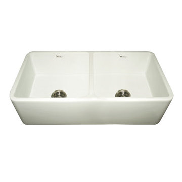 Duet Reversible Smooth Front Double Bowl Fireclay Kitchen Sink