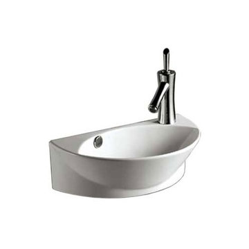Isabella Half Oval Wall Mount Lavatory Sink With Right Side Single Faucet Hole