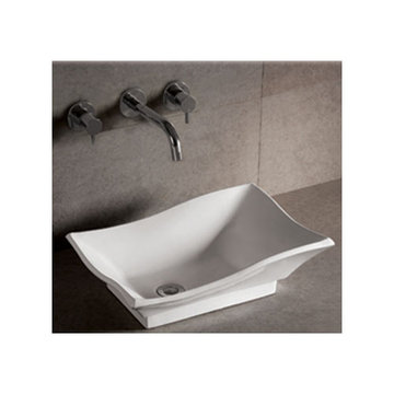 Isabella Rectangular Vessel Sink With Offset Drain