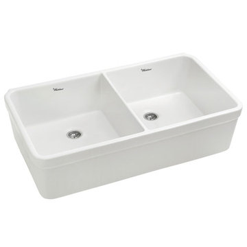 Non-Reversible Double Bowl Fireclay Kitchen Sink With Decorative 2 Inch Lip