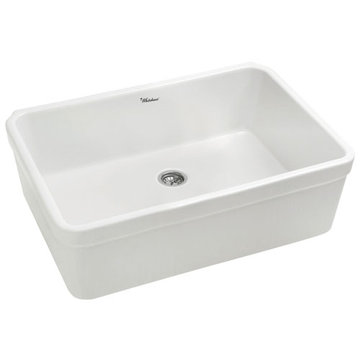 Non-Reversible Fireclay Kitchen Sink With Decorative 2 Inch Lip