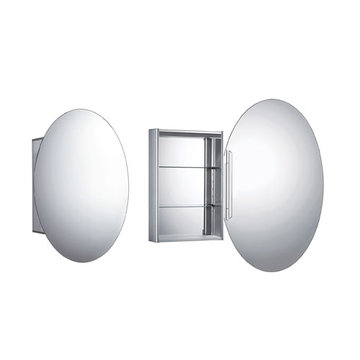 Oval Medicine Cabinet With Double Mirrored Door And Mirred Back Wall