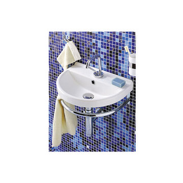 Small U-Shaped Wall Mount China Lavatory Basin Sink