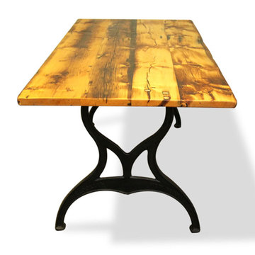 60 Inch Reclaimed Golden Oak Pine Table With Brooklyn Legs