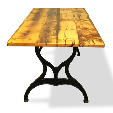 72 Inch Reclaimed Golden Oak Pine Table With Brooklyn Legs