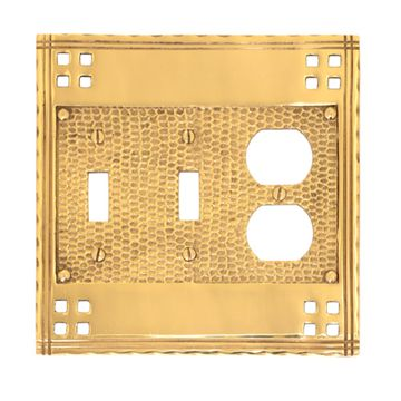 Brass Accents Arts And Crafts Double Toggle With Duplex Switchplate