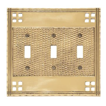 Brass Accents Arts and Crafts Triple Toggle Switchplate