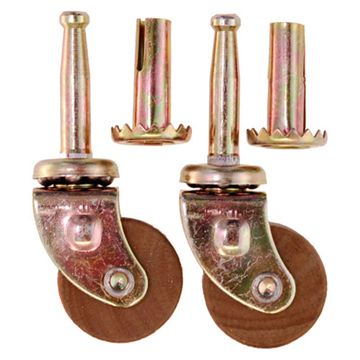 Wooden Wheel Ball Bearing Steel Stem Caster