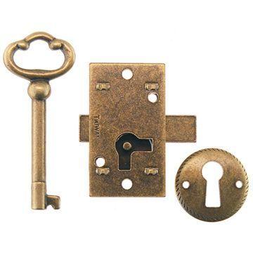 Restorers Classic Antique Brass Non Mortise Furniture Lock