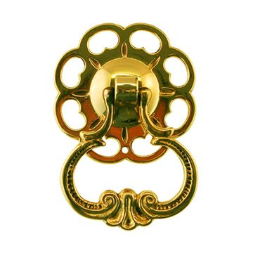 Restorers Classic Floral Backplate with Scroll Ring Pendant Drop Pull