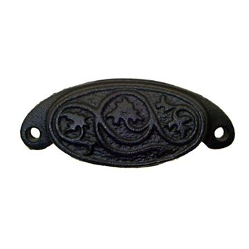Restorers Classic Floral Cast Iron Cup Bin Pull