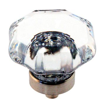 Restorers Classic Large Octagonal Glass Cabinet Knob - 1 1/2 Inch