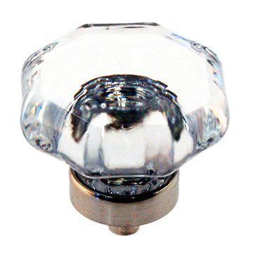 Restorers Classic Large Octagonal Glass Cabinet Knob - 1 1/2 Inch
