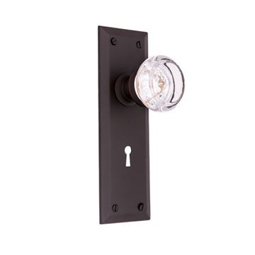 Restorers Classic Plain Interior Mortise Lock Set - Round Glass Knobs