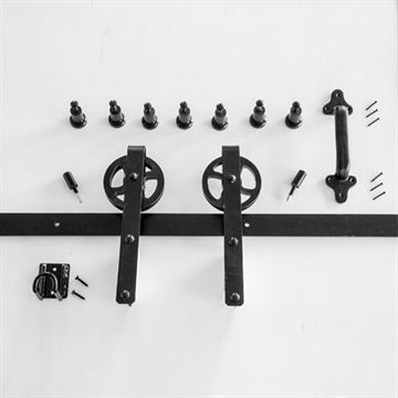 Quiet Glide Heavy Duty Strap Rolling Door Hardware Kit - 8 Foot