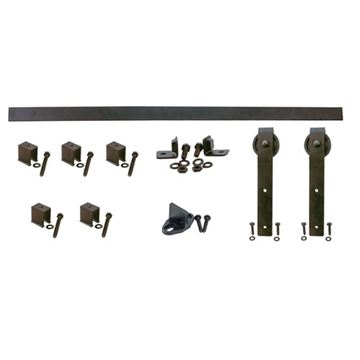 Quiet Glide Hook Flat Track Rolling Door Hardware Kit - 3 Inch Wheel