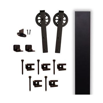 Quiet Glide Hook Flat Track Rolling Door Hardware Kit - 5 Inch Wheel